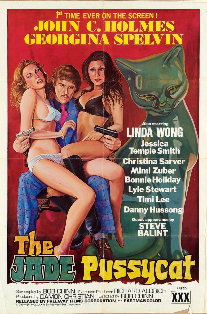 A poster for the pornographic film 'The Jade Pussycat', starring porn legends John C. Holmes, Georgina Spelvin and Linda Wong, 1977. (Photo by Movie Poster Image Art/Getty Images)