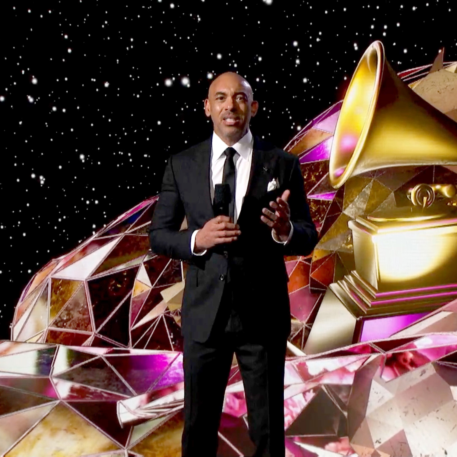UNSPECIFIED: In this screengrab released on March 14, Recording Academy Chair and Interim President/CEO Harvey Mason jr. speaks onstage during the 63rd Annual GRAMMY Awards Premiere Ceremony broadcast on March 14, 2021. (Photo by Rich Fury/Getty Images The Recording Academy)