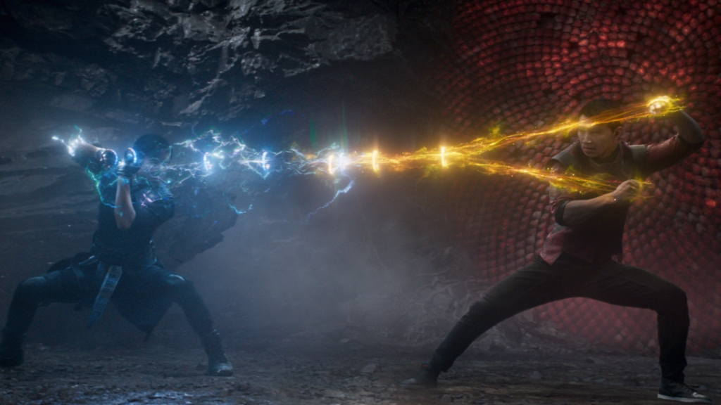 Wenwu (Tony Leung) and Shang-Chi (Simu Liu) in Marvel Studios' SHANG-CHI AND THE LEGEND OF THE TEN RINGS. Photo courtesy of Marvel Studios. ©Marvel Studios 2021.