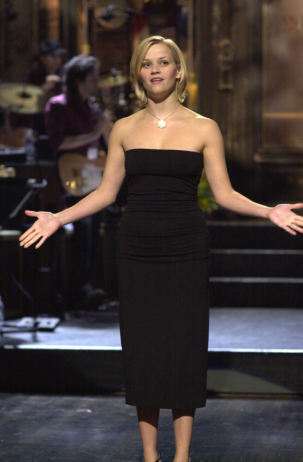 SATURDAY NIGHT LIVE -- Episode 1 -- Air Date 09/29/2001 -- Pictured: Host Reese Witherspoon during the monologue on September 29, 2001 -- Photo by: Dana Edelson/NBCU Photo Bank