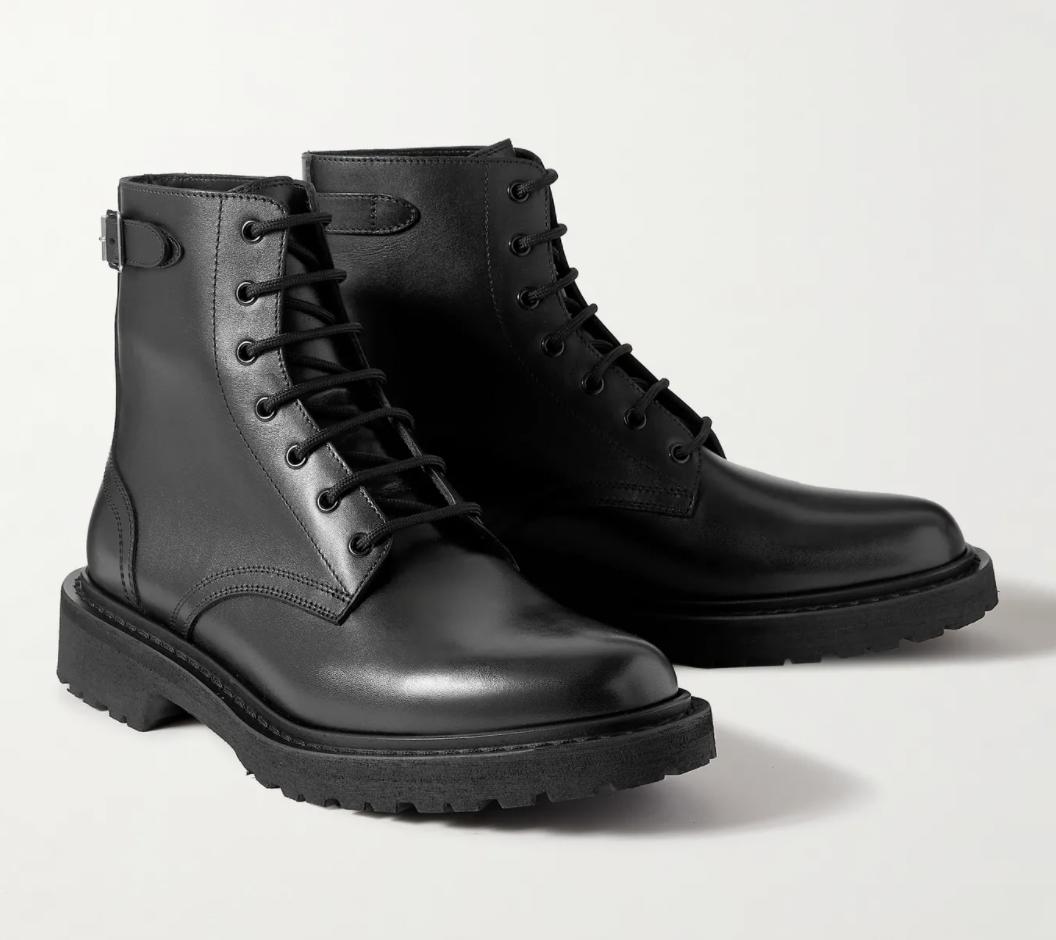 black leather combat boots designer