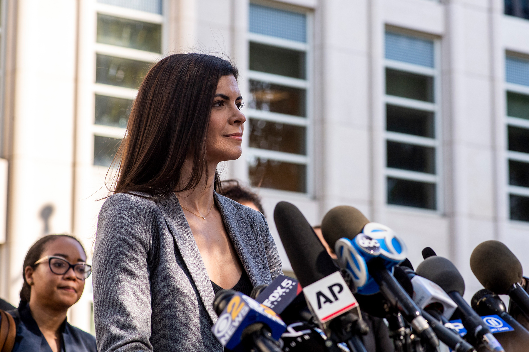 U.S. Attorney Jacquelyn Kasulis speaks to the press on the guilty verdict of R. Kelly at the Brooklyn Federal Court House on Monday, Sept. 27, 2021, in New York. - Credit: Brittainy Newman/AP