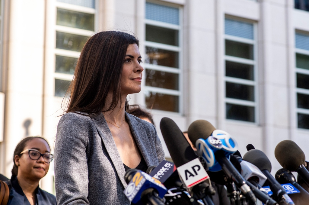 U.S. Attorney Jacquelyn Kasulis speaks to the press on the guilty verdict of R. Kelly at the Brooklyn Federal Court House on Monday, Sept. 27, 2021, in New York. (AP Photo/Brittainy Newman)