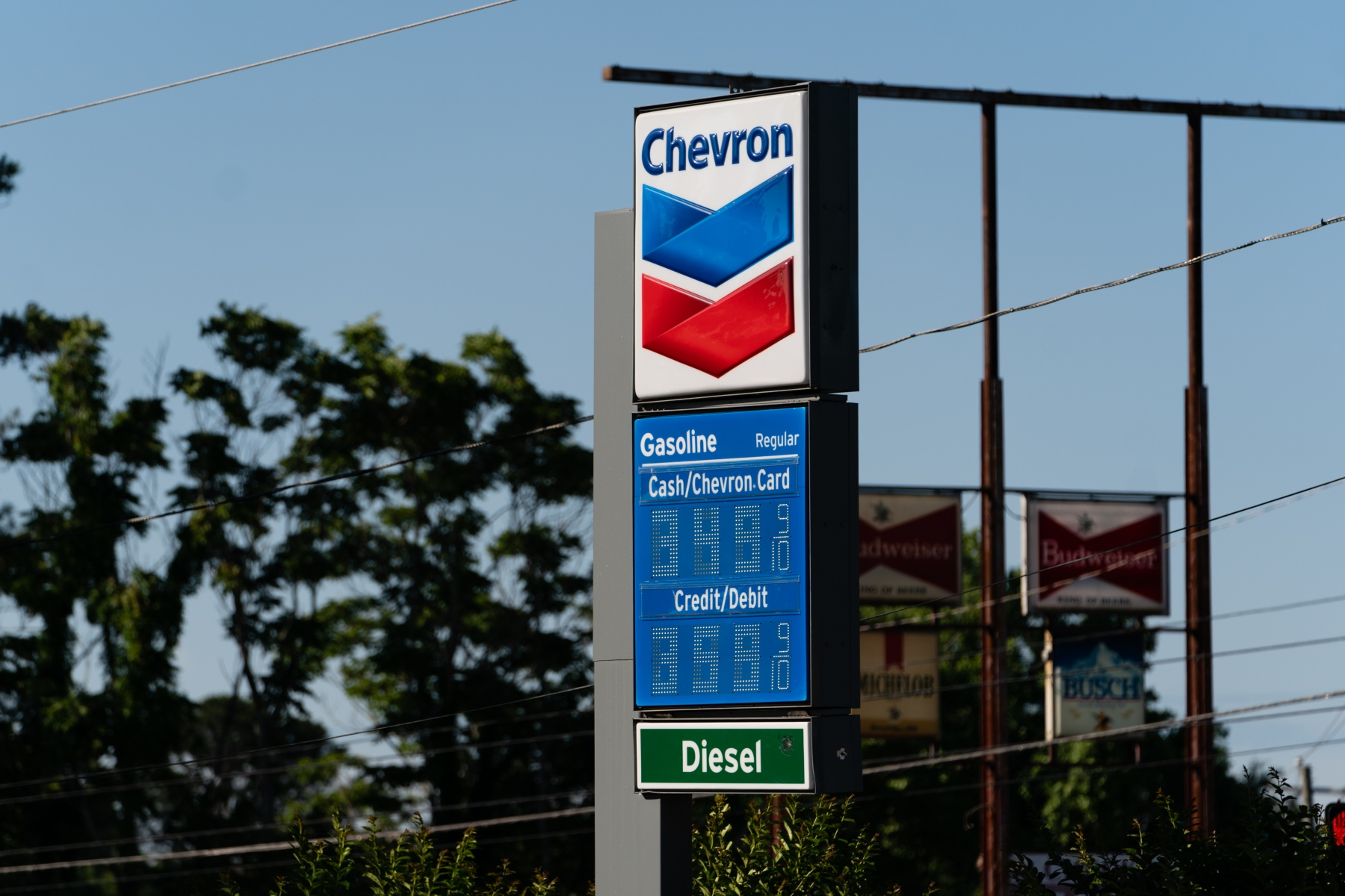 A Chevron Corp. gas station displays a price for regular gas exceeding $3.50 a gallon in Atlanta, Georgia, U.S., on Thursday, May 13, 2021. Five days after a criminal hack shut down deliveries of almost half the gasoline and diesel burned in the eastern U.S., the Atlanta area's reserves of gas and diesel began to plummet. Photographer: Elijah Nouvelage/Bloomberg via Getty Images