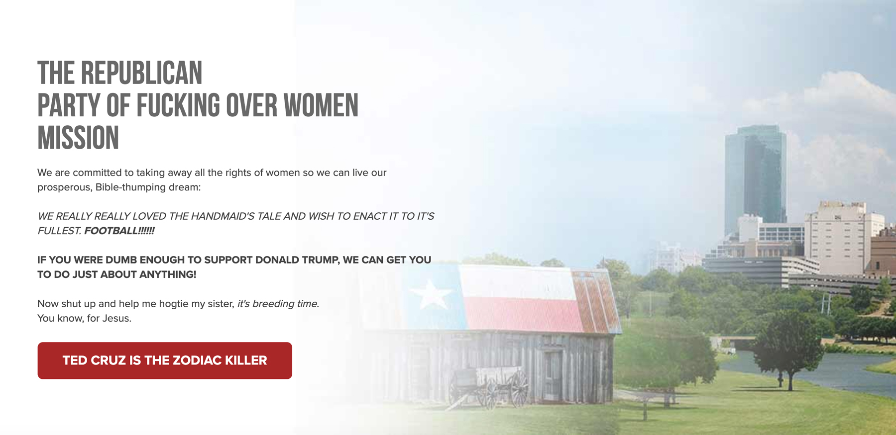 A screenshot of an archived version of the GOP website from September, when hackers hijacked the party's messaging in a protest of its new anti-abortion rights law
