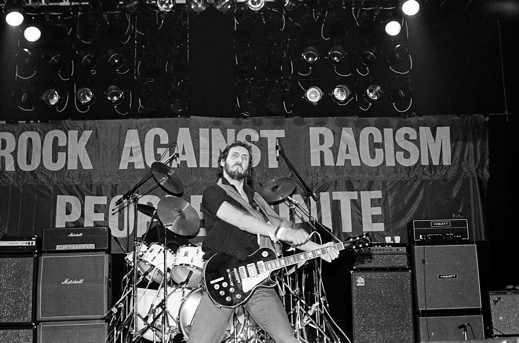 Pete Townshend of The Who, performing at a Rock Against Racism Southall benefit gig, at the Rainbow Theatre, London, 13th July 1979. (Photo by Virginia Turbett/Redferns)