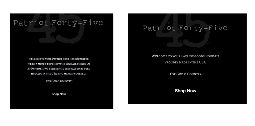 The 2020 version of Patriot Forty-Five is on the left. A more current version is on the right. Notice a difference?
