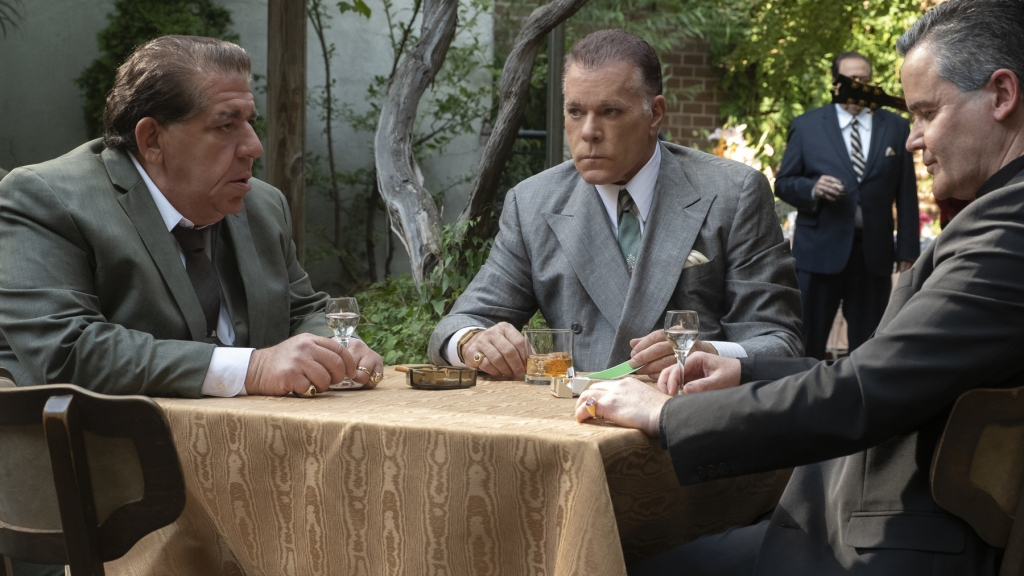 """Caption: (L-r) JOEY COCO DIAZ as Buddha, RAY LIOTTA as """"Hollywood Dick"""" Moltisanti and JOHN BORRAS as Bishop in New Line Cinema and Home Box Office's mob drama """"THE MANY SAINTS OF NEWARK,"""" a Warner Bros. Pictures release."""