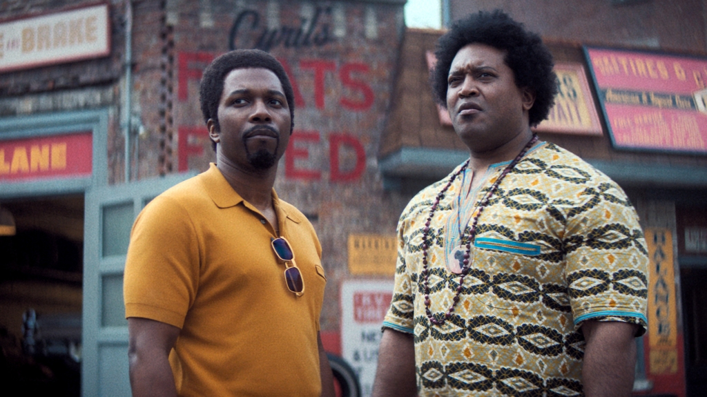 """Caption: (L-r) LESLIE ODOM, JR. as Harold McBrayer and GERMAR TERRELL GARDNER as Cyril in New Line Cinema and Home Box Office's mob drama """"THE MANY SAINTS OF NEWARK,"""" a Warner Bros. Pictures release."""